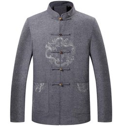 Wholesale Chinese Wool Jacket - Thicken middle-aged Chinese tunic suit man jacket men blazer casual ragon wool coats mens Tang suit Chinese style stand collar