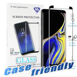 S6 protezione a schermo temperato online-Caso friendly per S10 Samsung Galaxy 5G S10 S9 S8 Nota 10 Plus Nota 9 8 S7 S6 Bordo 3D curva di bordo HD rimuovono vetro temperato Screen Protector