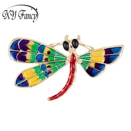 Wholesale dragonfly painting - DreamBell Women's Brooches Plating Gold Hand Painted Enamel Dragonfly Collar Pins Zinc Alloy Corsage Brooch