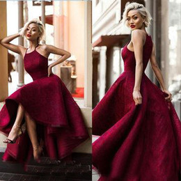 Wholesale Long Tuxedo Dresses Prom - Long Sexy Red Ball Gown Halter Sleeveless Prom Dresses 2018 Yousef Aljasmi Hi-Lo Sweety Lace Runway Fashion Ladies formal tuxedo
