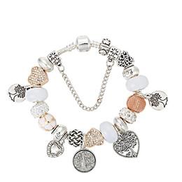 Braccialetti di vita dell'albero online-925 placcato in argento sterling Perle albero della vita ciondoli pendenti bracciali per pandora braccialetto di fascino braccialetto gioielli fai da te per le donne regalo