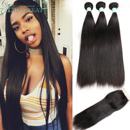 Wholesale virgin brazilian hair weft - Brazilian Straight & Body wave Human Hair Bundles With Closure Brazilian Human Hair With Closure Unprocessed Virgin Hair Weaves Wholesale