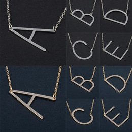 Wholesale Sliver Letters - 26 Alphabet English Letter Pendant Lady Metal Necklace A-Z Choker Chain Necklaces Sliver Gold Jewelry Gift OOA4421