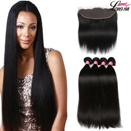 Wholesale Natural Weaving - Brazilian Virgin Hair Straight with lace Frontal 4Pcs Ear to Ear Lace Frontal Closure straight Virgin Hair 13x4 Frontal With Bundles Deals