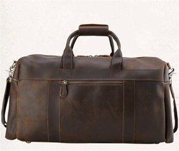 Wholesale Retro Luggage - 3pcs Fashion Large Capacity Vintage Retro Geniune Leather Men Business Luggage Shoulder Bags Outdoor Travel Backpack Duffel Bag