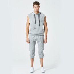 Wholesale capri pants men fashion - Summer New Fashion Mens Tracksuit Men Short Sleeveless Pullover With Casual Capri Jogger Pants Suits Homme Sportsuit