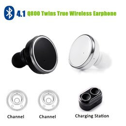 Wholesale Mp3 Set - In stock! Q800 Bluetooth earphone headset In ear left & right channel two stereo Double Use Ear set for iphone 5 6 7 Smartphones