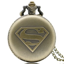 Wholesale Birthday Necklace - Bronze Famous Superman Logo Design Fob Quartz Pocket Watch Numerals Analog Dial Vintage Necklace Chain Best Birthday Gift for Children Boys