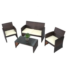 Wholesale Furniture Room Sets - Fully Equipped Cane Double Sofa Single Sofas Tea Table Seat Cushions Rattan Chair Furniture Set