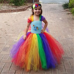 Rainbow Color Girls Unicorn Tutu Dress Rainbow Princess Kids Birthday Party Dress Girls Christmas Halloween Cosplay Costume 1-12 от