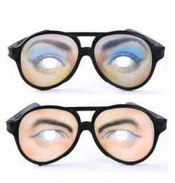 Wholesale Toy Men Black Glasses - Novelty funny toys glasses for April Fool's Day dance party glasses for decoration eye pattern glass for men women funny props