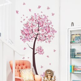 2019 farfalla murale Albero Fiore Farfalle Floreali Adesivi Murali Decalcomanie Soggiorno Camera Da Letto TV Divano Sfondo Decor Parete Decalcomanie Murale sconti farfalla murale