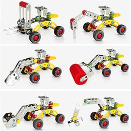 construction vehicles sets 2018 - 3D Assembly Metal Engineering Vehicles Model Kits Toy Car Excavator Bulldozer Roller Breaker Forklift Building Puzzles Construction Play Set