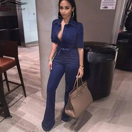 df519f76fcb8 Bonnie Forest Sexy Women Short Sleeve Denim Jumpsuit Rompers Summer Single  Breasted With Sashes Jean jumpsuit One Piece Coverall denim jean jumpsuit  women ...