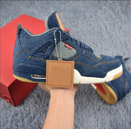 Wholesale Sail Shoes Men - Air retro 4 IV NRG men Basketball shoes Jeans DENIM DENIM-SAIL-GAME RED VOILE ROUGE JEU AO2571-401 Flight basketbol sneakers