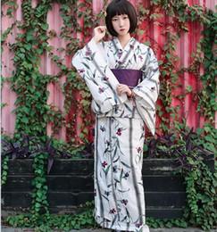 Wholesale traditional oriental dress - Oriental Asian Traditional Standard Kimono bathrobe Japanese fireworks kimono Pure Cotton Yukata With Obi Flower Vintage Evening Dress