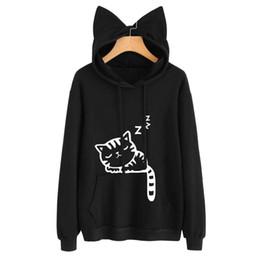 Wholesale Polyester Tracksuits Wholesale - New Women Casual Hoodies Sweatshirt Long Sleeve Hoody Cat Cute Ears Printed Hoodies Tracksuit outerwear Sweatshirt