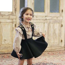 Wholesale Classic Western Dress - Wholesale- New Kids Girls Classic Embroider Ruffles Suspender Dress Lantern Sleeve Tees Western Princess Party Clothing