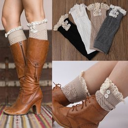 Wholesale Comfortable Boots For Women - 7 Colors Autumn Winter Leg Warmers for Boots Hollow Short Section Lace Knitting Button Trim Polainas Comfortable Socks for Women