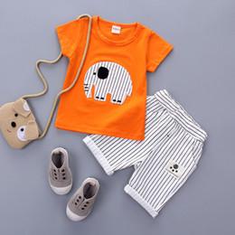 2019 nuovi vestiti nati Nuova estate New Born Baby Boys Girls elefante Cartoon Abbigliamento Baby Boy vestiti Set a maniche corte Baby Girl adatta vestiti sconti nuovi vestiti nati