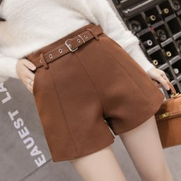 Wholesale Women Wearing Boots - Winter high waisted wool pants shorts autumn winter boots 2018 primer thickened outer wear wide leg pants