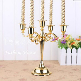 Wholesale Wedding Candle Holders Wholesale - Candelabra 5 Arm Luxury Candle Holder Wedding Party Elegant Candle Holder Pretty Table Centerpiece Wedding Decoration Gold Silver Color