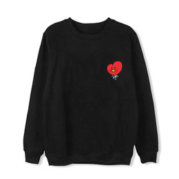 Wholesale Bts Album - Hot 2018 Kpop BTS BT21 Cartoon Album Thin Hoodie Hip Hop Loose Hoodies Clothes Pullover Printed Long Sleeve Sweatshirts
