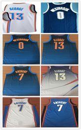 b160b8592 2018 OKC Hommes Oklahoma City Swingman Maillot 0 Russell Westbrook 13 Paul  George 7 Carmelo Anthony Thunder Maillots