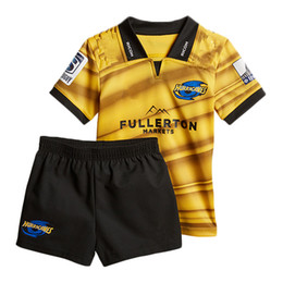 Wholesale Rugby Kits - 2018 kids kit New Zealand Club rugby children jersey shorts Hurricanes tops home Rugby League shirt size 18-28