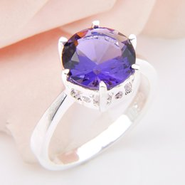 Wholesale Bulk Sterling Silver Jewelry - 5 Pcs 1 lot Bulk Crystal Fire Round Amethyst Gemstone 925 Sterling Silver Ring Russia American Australia Weddings Ring Jewelry Gift