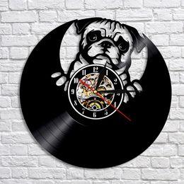 щенки мопса Скидка 1шт прекрасный Мопс собака силуэт виниловые записи светодиодные настенные часы современный дизайн животных щенок часы творческий питомник стены искусства декора