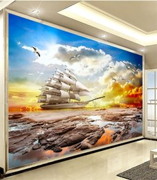 Wholesale Country Beauty - Sunset beauty 3D wallpaper windsurfing sailboat living room television background wall painting sofa bedroom seamless wallpaper