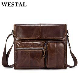 WESTAL Genuine Leather Men s Bag Messenger Bag Men Leather Shoulder Bags  Sling Small Black Mens Crossbody Bags ipad Satchels 380 095912294e297