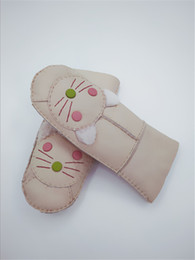 Модные перчатки без пальцев женщин онлайн-Бесплатная доставка новые женщины пальцев Cat Pattern модные перчатки милые теплые женские кожаные перчатки 100% шерсть