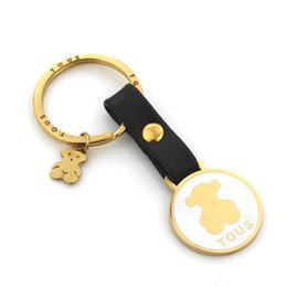 Wholesale Boy Pendants - 2018 New Fashion Stainless Steel Gold Silver Plated Key Ring For Animal Pendant Never Fade Hot Sale Jewelry Wholesale Keychain Llavero osos
