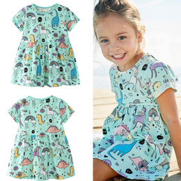 Wholesale Natural Fabric Clothing Wholesale - cute animal print Girl's Dresses Baby Kids Clothes fashion Boutique girl summer dress soft and comfortable fabric 2003