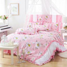 Wholesale Light Pink Comforter Set Queen - Light pink Korean brief princess style bedskirt set for girls 100% Cotton pastoral floral bedding sets single double bed