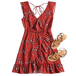 copertine classiche di caramelle Sconti ZAFUL Beach Dress Copricollo Collo Ups Ruffled Belted Flower Beach Dress Floral Summer Women Cover Up