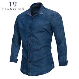 39187d6e46c European Size 2018 Men Shirts Fashion Irregular Plaid Shirt Long Sleeve  Casual Denim Shirt Men Vintage Brand Clothes