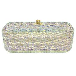 1cc82a90d2 Wholesale- LaiSC white crystal evening bags Luxury diamond Clutch bags  silver color party bags women wedding pochette bride handbags SC066