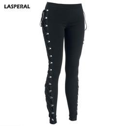 Discount gothic crosses - LASPERAL 2017 Sexy Leggings Women Elastic Waist Side Cross Lace Up Leggings Ladies Black Streetwear Gothic Jegging Pencil Pants