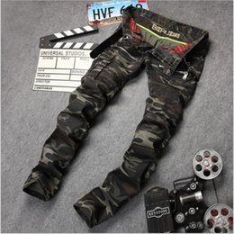 Wholesale Military Biker Patches - 2016 New straight Army camouflage jeans Men's cultivate one's morality hole Foreign trade cowboy men's trousers Biker Jeans J017