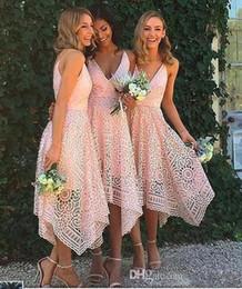 Wholesale Tea Length Garden Wedding Dresses - 2018 Country Garden Blush Pink Lace Bridesmaid Dress Irregular Hem V Neck Tea Length Maid of Honor Country Wedding Guest Gowns