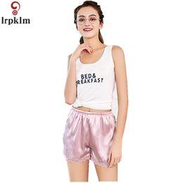 Wholesale Wholesale Women Silk Pajamas - Fashion Ladies Short Paragraph 2018 New Summer High Simulation Silk Short Lace Sexy Pajamas Red elastic Paragraph NZ016