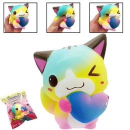 Wholesale Cat Squeeze - Kawaii Heart Cat Squishy Super Soft Slow Rising Love Cat Squeeze Jumbo Phone Chrams Kids Gift Stress Reliever