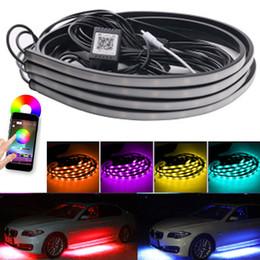 Подводные фонари онлайн-YSY 4шт Телефон APP Автомобильная RGB светодиодная лента 5050 SMD RGB светодиодная лента под автомобильной трубкой Underglow System Underbody Комплект неонового света