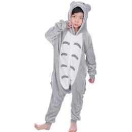 ropa de dormir totoro Rebajas Animal Totoro Pijamas para 4 6 8 10 12 años Bebé Otoño Invierno Franela Niños Niñas Pijamas Niños con capucha Ropa de dormir Pijamas Onesie