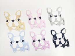 Wholesale wholesale silicone teething beads - Lovey Puppy Baby Teethers Toy Cute Dog Teething Beads BPA Free Silicone Chewable Teethers Safe Baby Chew Charm Toys