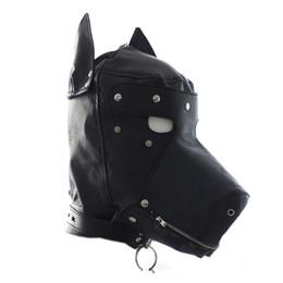 Máscara de perro negro online-Juguetes Dog Puppy Full Face Hoodmask Máscaras de Halloween Masquerade Party Supplies Decoraciones de Halloween Negro Amarillo Venta caliente 40ly gg