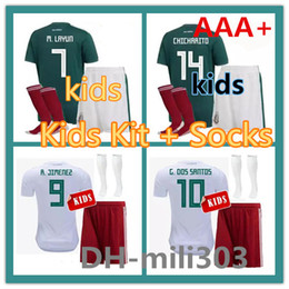 Wholesale youth mexico jersey - 2018 World Cup kids kit Mexico Soccer Jersey 18 19 CHICHARITO LOZANO Football shirt Uniform Youth G DOS SANTOS Child camisetas de futbol